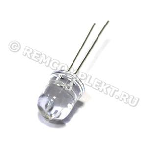 Светодиод 10mm синий 470nm 8-9cd 3-3,4V