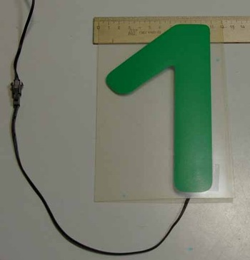 Светящаяся бумага цифра '1' 12x18см зеленая/прозрачн