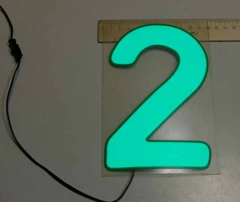 Светящаяся бумага цифра '2' 12x18см зеленая/прозрачн
