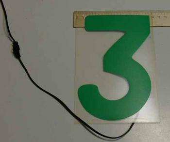 Светящаяся бумага цифра '3' 12x18см зеленая/прозрачн