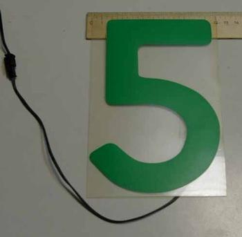 Светящаяся бумага цифра '5' 12x18см зеленая/прозрачн