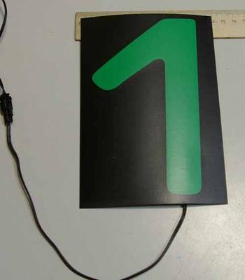 Светящаяся бумага цифра '1' 12x18см зеленая/черный