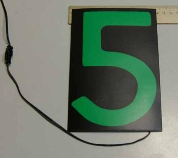 Светящаяся бумага цифра '5' 12x18см зеленая/черный