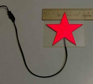 Светящаяся бумага звезда красная 9см х 9см ламинированная