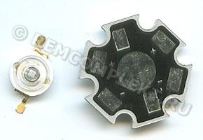 Светодиод 1W UV ультрафиолет + радиатор