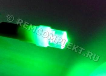 Светодиодная автолампа T5 зеленая 1 светодиод 12V