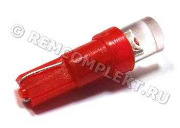Светодиодная автолампа T5 красная 1 светодиод 12V (опт. цена от 50 шт)