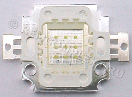 Светодиод 10W зеленый 500-800Lm 520-525nm 8-10V 1000mA (опт. цена от 4 шт)