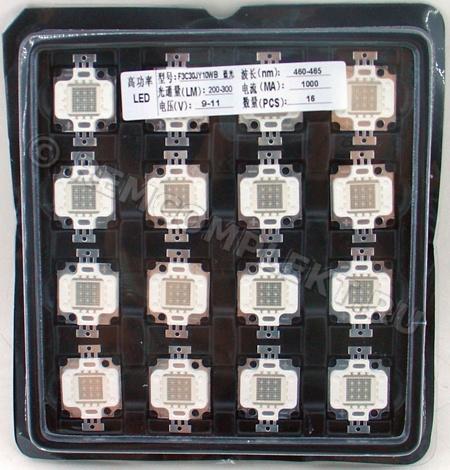 Светодиод 10W синий 200-300Lm 460-465nm 9-11V 1000mA (опт. цена от 4 шт)