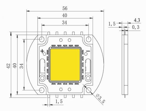 Светодиод 100W синий 3000mA 31-33V (опт. цена от 2 шт)