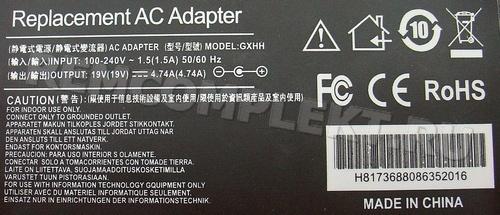 Блок питания 19V 4,7A (PCW19V4,7A) в корпусе разъем 5.5x2.1 (опт. цена от 5 шт)