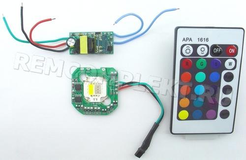 Светодиод 10W RGB+NW (IR выносной) с платой контроллера, драйвером и пультом ДУ (опт. цена от 5 шт)