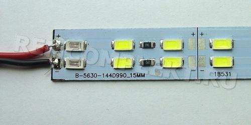 Светодиодный модуль 1м 5630 3NW1Bx2 белый 144 светодиода 12V 2,4A (опт. цена от 10 шт)