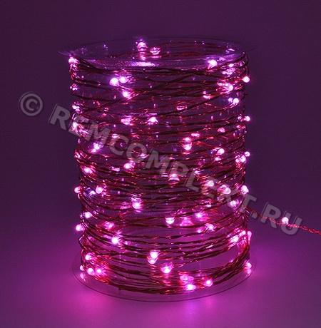 Светодиодные капли розовые 3V 110mA 10м 100 светодиодов (опт. цена от 20 м)